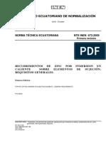 NTE INEN 672 recubrimientos de zinc por inmersión en caliente sobre elementos de sujeción.pdf