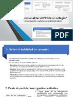 Análisis del proyecto educativo institucional (PEI) de una escuela
