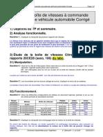TP 21.1 Boîte de vitesses à commande manuelle de véhicule automobile Corrigé