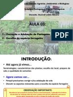 AULA 03 - CORREÇÃO E ADUBAÇÃO E ESCOLHA DA ESPÉCIE FORRAGEIRA