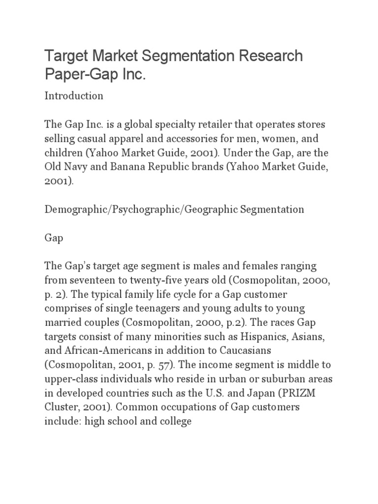 target market segmentation research paper gap inc Target market segmentation research paper-gap inc target market segmentation research paper-gap inc communications in wartime: between the lines.