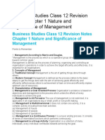 Business Studies Class 12 Revision Notes Chapter 1 Nature and Significance of Management