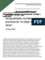 """Impacto de la pandemia de COVID-19 en las desigualdades sociales y la promesa de """"no dejar a nadie atrás"""" - OPS_OMS _ Organización Panamericana de la Salud"""
