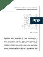 Ponderações sobre o ensino escolar em contexto de quarentena - Carta às professoras e professores - 2020