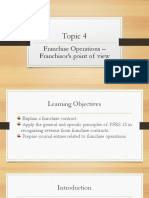 Topic 4 Franchise Operations – Franchisor's point of view
