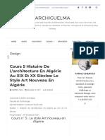 Cours 5 Histoire de l'architecture en Algérie au XIX et XX siècles_ Le style Art nouveau en Algérie _ ArchiGuelma