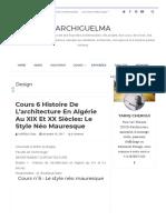 Cours 6 Histoire de l'architecture en Algérie au XIX et XX siècles_ Le style néo mauresque _ ArchiGuelma