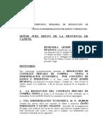 DEMANDA RESOLUCION DE C-V E INDEMNIZACION