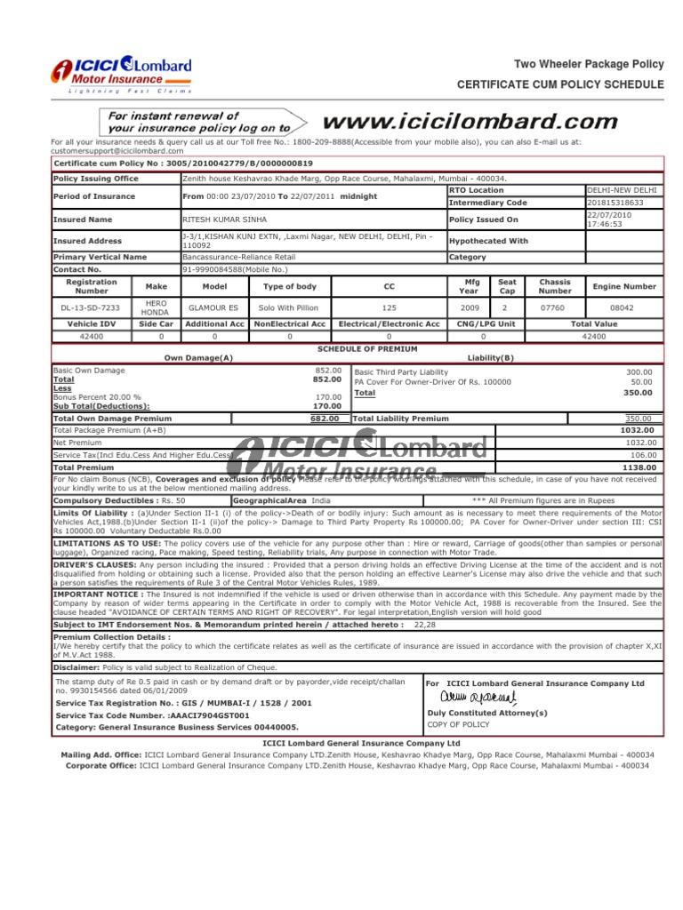 Icici Lombard Motor Insurance Login Page