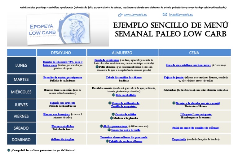 dieta low carb menu pdf