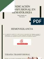 Indicación transfusional en hematología
