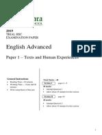 Killara 2019 English Trial Paper 1