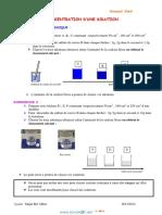 Cours - Sciences physiques concentration d'une solution - 1ère AS  (2013-2014) Mr Bouazizi Jilani
