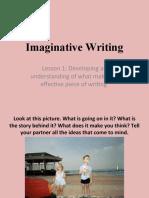 Imaginative Writing - lesson 1 assessing creative writing