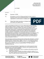 Letter from Ottawa Public Health to Ottawa businesses