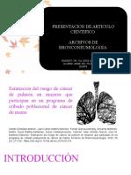 Estimación Del Riesgo de Cáncer de Pulmón en Mujeres Que Participan en Un Programa de Cribado Poblacional de Cáncer de Mama