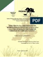 INFLUÊNCIA DA URBANIZAÇÃO NA MORFOLOGIA E CANTO DE Dendropsophus  cruzi