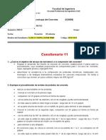 Cuestionario 11 ENSAYO DE RESISTENCIA A LA COMPRESIÓN 1-2 2020 2 FLORES CARPIO, KARIN
