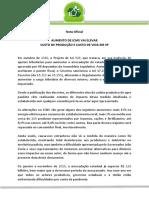 FORUM AGRO - NOTA SOBRE AUMENTO DE ICMS EM SP