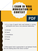FINAL EXAM in Oral Communication in Context