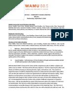 WAMU 88.5 Community Council Meeting Minutes - Sept 2020