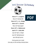 2011 Soccer Schedule