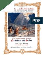 25 de diciembre. Natividad de Nuestro Señor. Misa de la Aurora. Guía de los fieles para la santa misa cantada.Kyrial Fons Bonitatis y Angelis