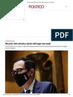 Mnuchin_ New stimulus checks will begin next week - POLITICO