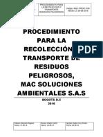 Procedimiento recolección respel Mac Soluciones
