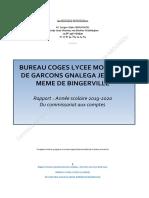 Rapport exercices clos au Août 2020 - Coges LGB -