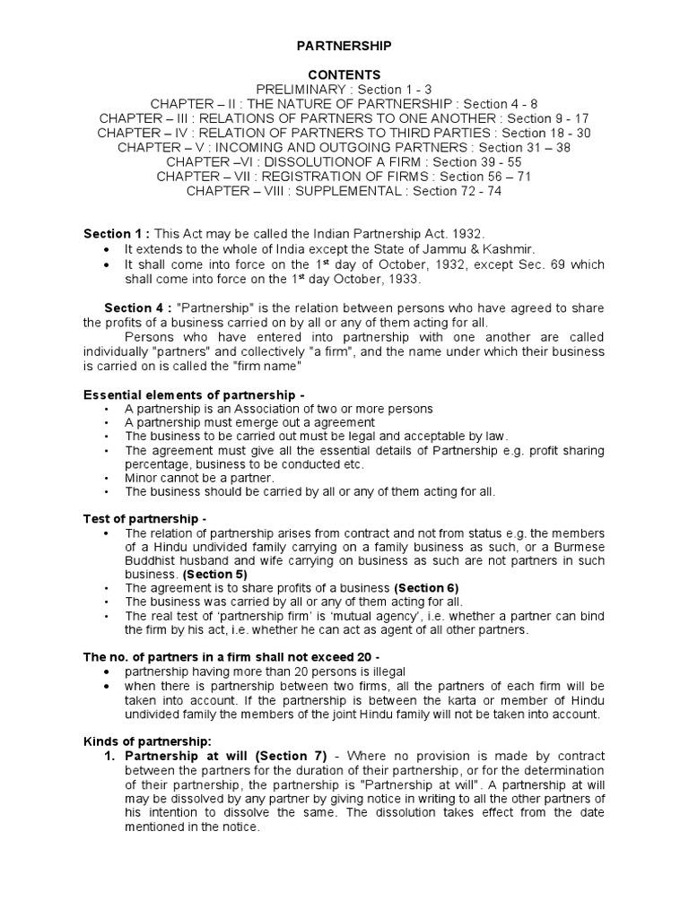 Partnership Act 1932 Partnership Estoppel