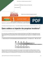 Quem conhece os impactos das pesquisas brasileiras_