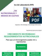 Diapositivas TP N°9 Medios de cultivo- Requerimientos Nutricionales - Enfermeria 2017