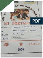 Portafolio de Matemática 1ro de Franchesco Vargas Ruiz Ccesa007