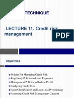 Lecture 11 - Credit Risk Management