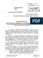 Nota informativă privind moțiunea de cenzură asupra activității Guvernului Republicii Moldova