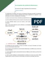 procédure de gestion des activités de Maintenance