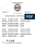 Derby City Hall December 2020 Holiday Schedule