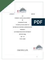 Aditya Constructions, Working Capital Management