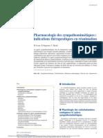 Pharmacologie Des Sympathomimétiques Indications Thérapeutiques en Réanimation