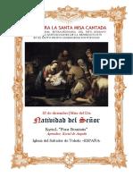 25 de diciembre. Natividad del Señor. Misa del Día.  Guía de los fieles para la santa misa cantada.Kyrial Fons Bonitatis y Angelis