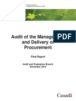 Audit of the Management and Delivery of Procurement
