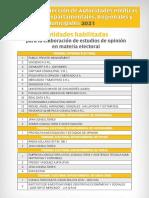 Entidades habilitadas para la elaboración de estudios de opinión en materia electoral