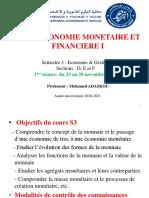 1605652_Cours Economie monetaire et financiere_S3M1_Sections_DEF_ADASKOU_Seance 1_du 23 au 29 novembre 2020