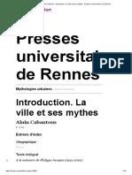 Mythologies urbaines - Introduction. La ville et ses mythes - Presses universitaires de Rennes