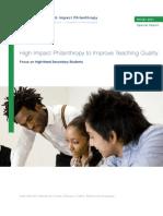 High Impact Philanthropy to Improve Teaching Quality