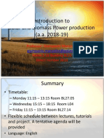 Solar and Biomass Power production introductive lecture