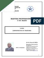 COURS ADMINISTRATION DU PERSONNEL ESAG NDE JAN 2016