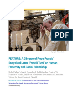 A Glimpse of Pope Francis' Encyclical Letter 'Fratelli Tutti' on Human Fraternity and Social Friendship