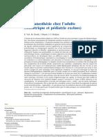 Rachianesthésie Chez l'Adulte (Obstétrique Et Pédiatrie Exclues)